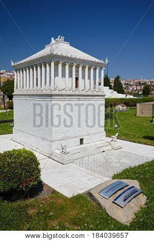 Miniaturk, Istanbul. A Scale Model Of A Reconstruction Of The Mausoleum At Halicarnassus.