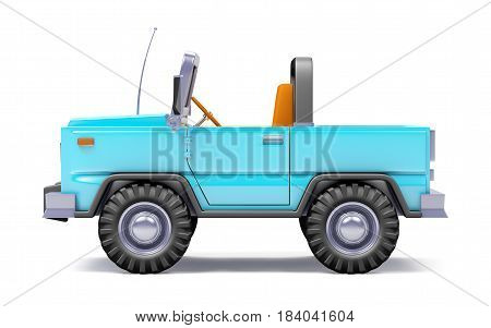 Blue safari suv side view in retro cartoon style isolated on white. 3d illustration.