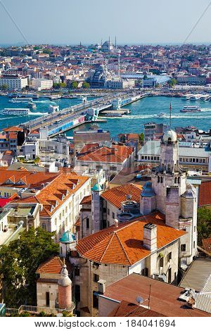 The View From Galata Tower To Galata Bridge With The Old Houses And The Historical Center Of Istanbu