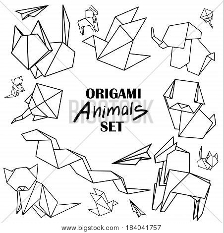 Origami animals set. Animals from paper snake dog horse cat bird fox isolated