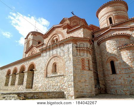 The Church of Saints Clement and Panteleimon, stunning stone church against sunny blue sky, Ohrid, Macedonia