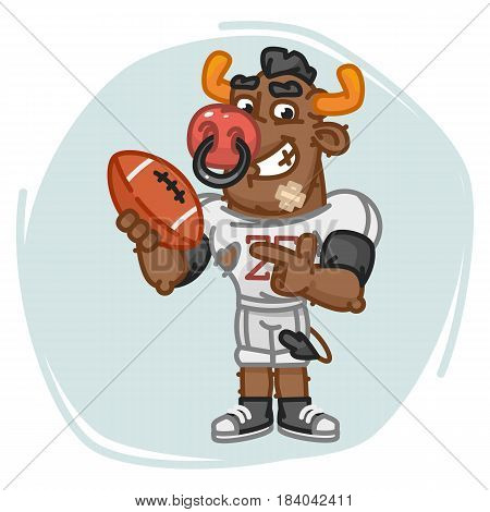 Bull Football Player Points On Ball