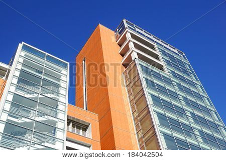 Modern tall buildings seen from below. Diminishing perspective .