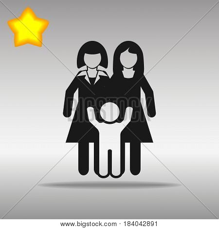 lesbian Couple With A Baby black Icon button logo symbol concept high quality on the gray background