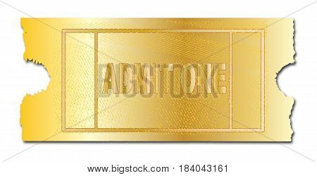 A golden ticket ro admit one on a white background