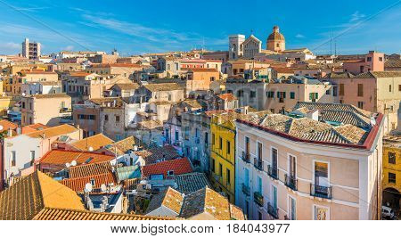 Cagliari - Sardinia, Italy: Cityscape of the old city center in the capital of Sardinia, wide angle panorama view from the rooftop