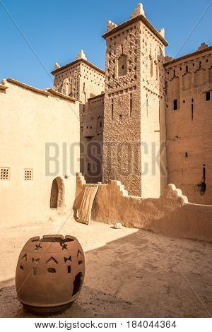 AMRIDIL, MOROCCO - APRIL 3,2017 - Courtyard of Amridil Kasbah at Skoura oasis in Morocco. The Kasbah Amridil has originally built in the 17th century.