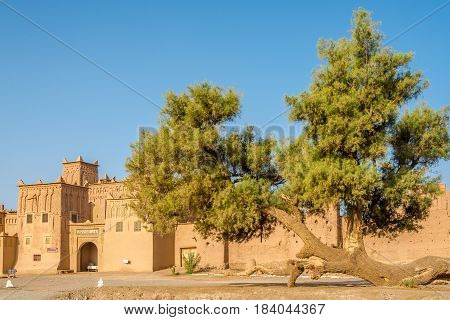 AMRIDIL, MOROCCO - APRIL 32017 - View at the Amridil Kasbah at Skoura oasis in Morocco. The Kasbah Amridil has originally built in the 17th century.