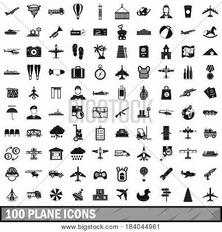 100 plane icons set in simple style for any design vector illustration