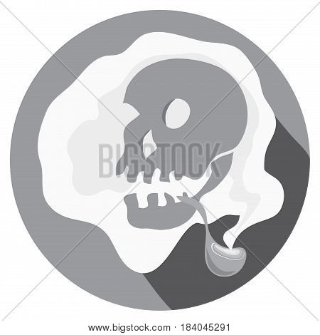 Vector skull picture with smoking pipe smoking around/ final sentence