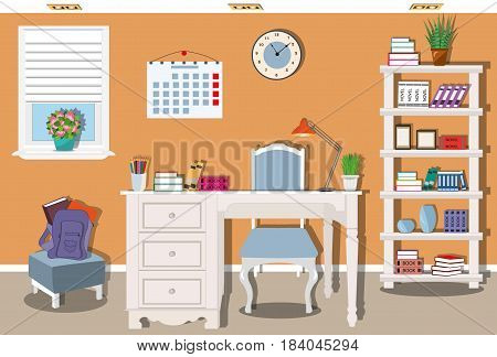 Stylish teenager room with comfortable workplace. Modern furniture - table, chair, bookcase in pastel colors.  Flat style vector illustration.