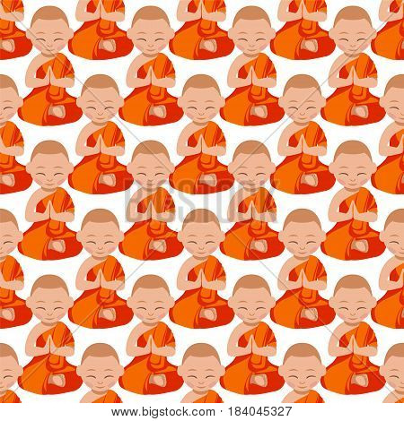 Seamless pattern - buddhist monks boys in the orange robe praying. Vector