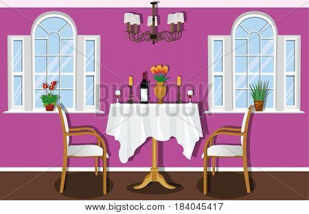 Vintage dining room with large windows, table and chairs. Dining table with tablecloth, bottle of wine, wine glasses and candles. Flat style vector illustration.