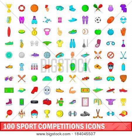 100 sport competition icons set in cartoon style for any design vector illustration