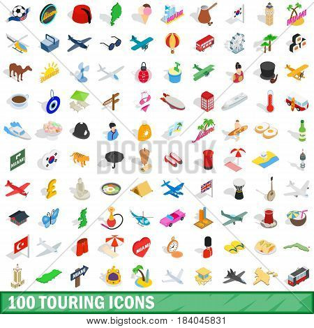 100 touring icons set in isometric 3d style for any design vector illustration