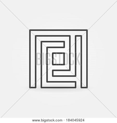 Maze simple icon - vector square labyrinth concept symbol or logo element in thin line style