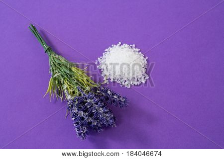 Close-up of lavender with salt