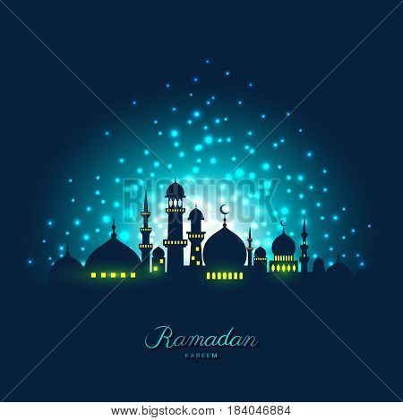 Mosque silhouette in night sky and abstract light for ramadan of Islam