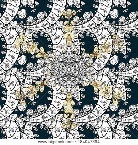 Damask classic white and golden pattern. Vector abstract background with repeating elements. Golden pattern on blue background with golden elements.