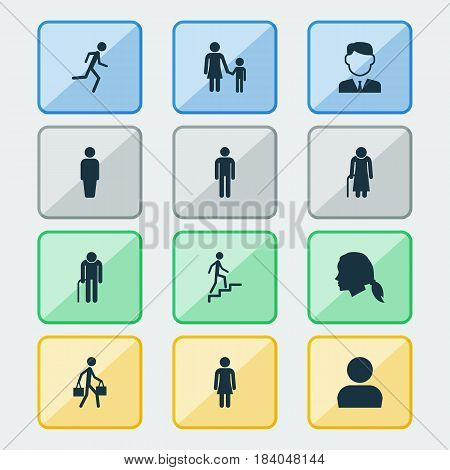 People Icons Set. Collection Of Running, Female, Delivery Person And Other Elements. Also Includes Symbols Such As Child, Mother, Avatar.