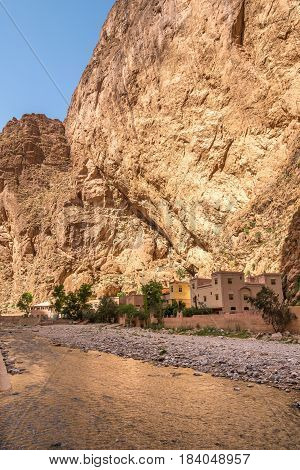 View at the Todra river in Todgha Gorge Morocco
