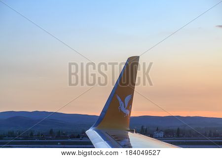 At Esenboga airport in Ankara Turkey - April 29 2017 : Pegasus airlines plane inside the Esenboga airport during sunset