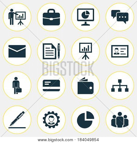 Job Icons Set. Collection Of Leader, Billfold, Pen And Other Elements. Also Includes Symbols Such As Handbag, Letter, Signing.