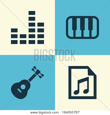 Audio Icons Set. Collection Of Instrument, Octave, File And Other Elements. Also Includes Symbols Such As Musical, Mixer, Playlist.