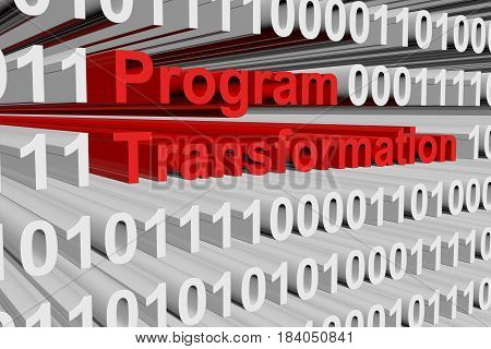 Program transformation in the form of binary code, 3D illustration
