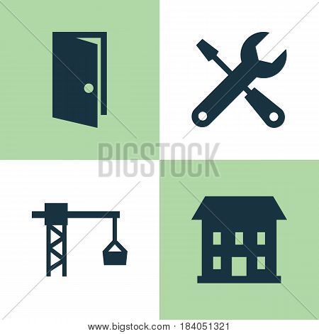 Architecture Icons Set. Collection Of Home, Entrance, Lifting Hook And Other Elements. Also Includes Symbols Such As Entrance, Hook, Tower.