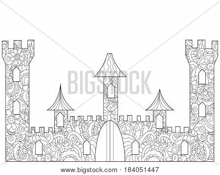 Old Castle Coloring book for adults vector illustration. Anti-stress coloring for adult building. Zentangle style. Black and white lines. Lace pattern
