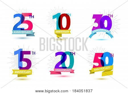 Vector set of anniversary numbers design. 25, 10, 30, 15, 20, 50 icons, compositions with ribbons. Colorful transparent with shadows on white background isolated. Anniversary logos anniversary design