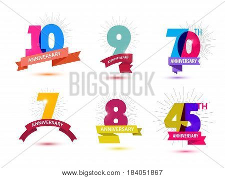 Vector set of anniversary numbers design. 10, 9, 70, 7, 8, 45 icons, compositions with ribbons. Colorful transparent with shadows on white background isolated Anniversary logos anniversary design