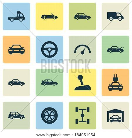 Car Icons Set. Collection Of Wheelbase, Truck, Stick And Other Elements. Also Includes Symbols Such As Auto, Crossover, Wagon.