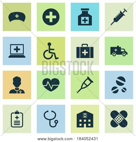 Drug Icons Set. Collection Of Plus, Database, Bandage Elements. Also Includes Symbols Such As Cure, Medic, Database.