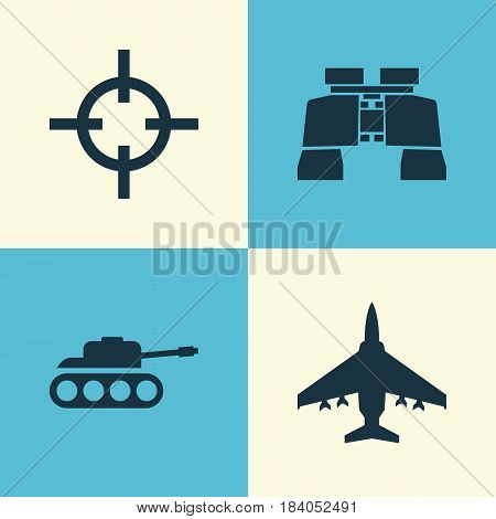 Army Icons Set. Collection Of Glass, Aircraft, Panzer And Other Elements. Also Includes Symbols Such As Target, Panzer, Shot.
