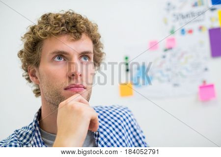 Thoughtful executive sitting with hand on chin in office