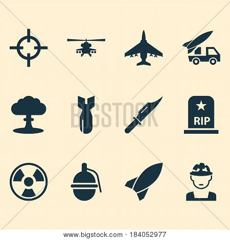 Army Icons Set. Collection Of Cutter, Dangerous, Rip And Other Elements. Also Includes Symbols Such As Rockets, Hazard, Bio.