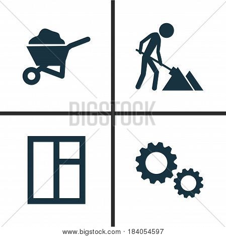 Building Icons Set. Collection Of Carry Cart, Glass Frame, Cogwheel And Other Elements. Also Includes Symbols Such As Frame, Wheelbarrow, Barrow.