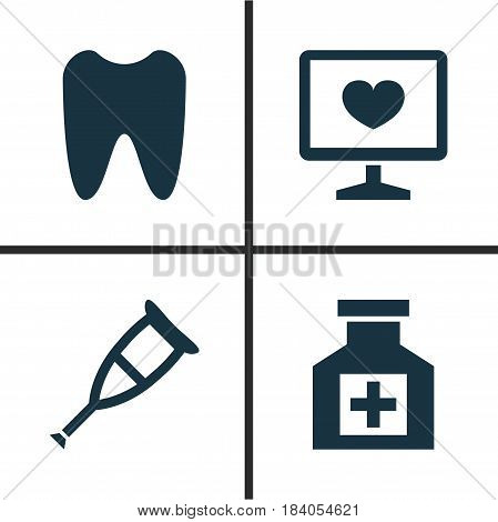 Antibiotic Icons Set. Collection Of Claw, Diagnosis, Painkiller And Other Elements. Also Includes Symbols Such As Painkiller, Diagnostics, Claw.