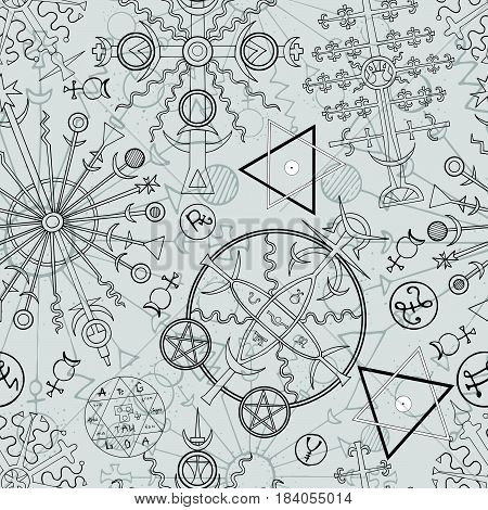 Seamless background with hand drawn mystic and esoteric symbols. Hand drawn vector illustration