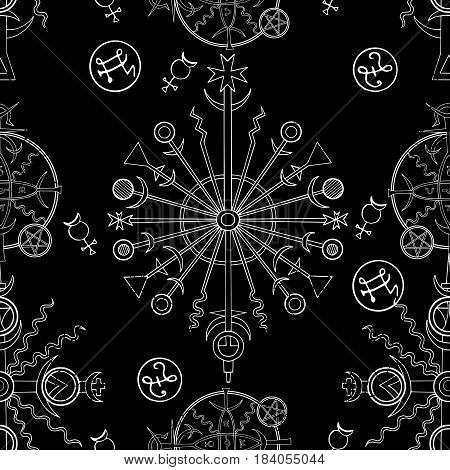Seamless background with white mystic and occult symbols on black. Hand drawn vector illustration