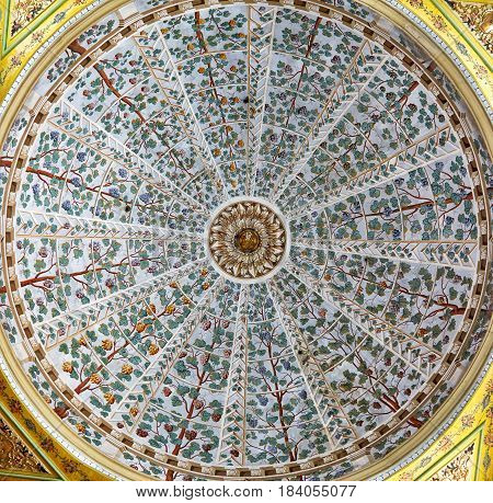 The Ceiling Decorations In Harem Of Topkapi Palace, Istanbul, Turkey