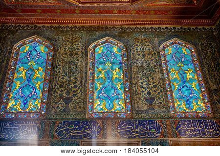 Staned Glass Windows In Harem Of Topkapi Palace, Istanbul.