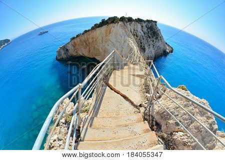 Stairs to peninsula broken in strong earthquake famous Porto Katsiki beach Lefkada Greece