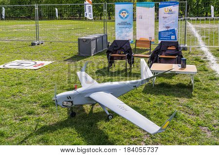 Kyiv Ukraine - April 29 2017: An unmanned aerial vehicle (UAV) Skylark of the National Aviation University during the first Drone Festival in Kyiv Ukraine.