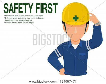Industrial worker is advising you to realize safety on transparent background
