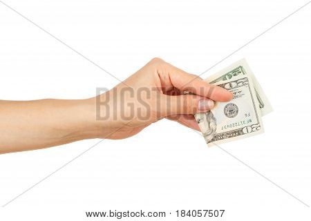 Twenty Dollars In The Woman's Hand, Isolated