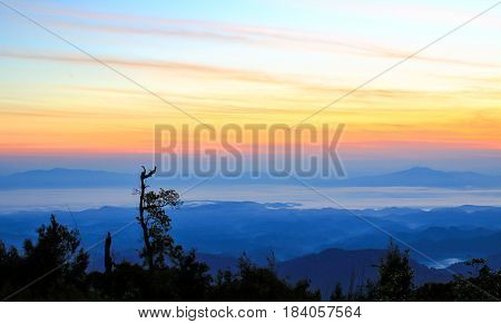 Exotic beautiful red rough cloud sunset sky in morning or evening light
