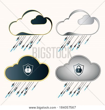 a computer cloud with a lock and a plug, the wires in the form of rain, set